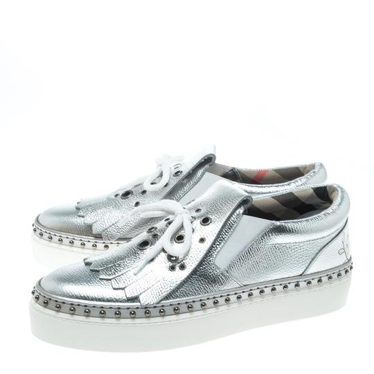 Burberry Detail Rubber Leather Silver Flats Image 5