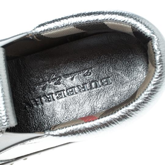 Burberry Detail Rubber Leather Silver Flats Image 6