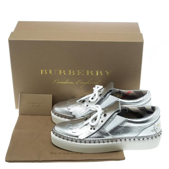 Burberry Detail Rubber Leather Silver Flats Image 7