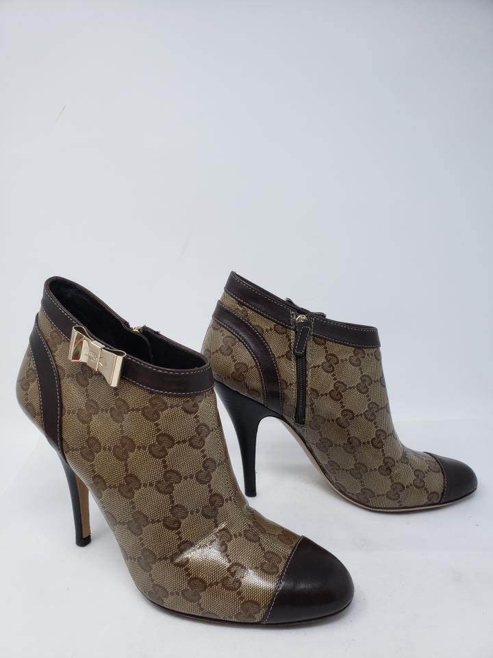 170990b60 Gucci Brown Coated Canvas Gg Web Cap-toe Ankle Boots/Booties Size EU ...