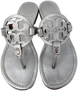 Tory Burch Reva Logo Gold Hardware Metallic Silver Sandals