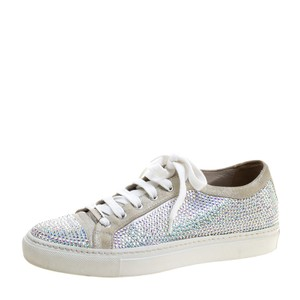 Le Silla Crystal Suede Leather Grey Flats