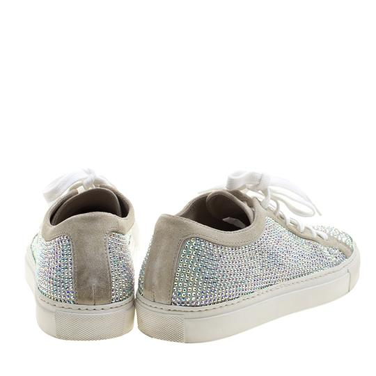 Le Silla Crystal Suede Leather Grey Flats Image 2