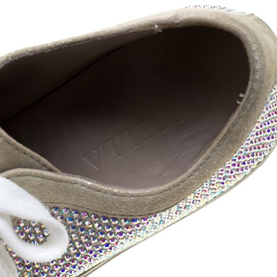 Le Silla Crystal Suede Leather Grey Flats Image 6