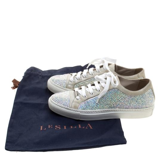 Le Silla Crystal Suede Leather Grey Flats Image 7