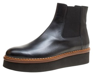 Tod's Leather Platform Ankle Rubber Black Boots