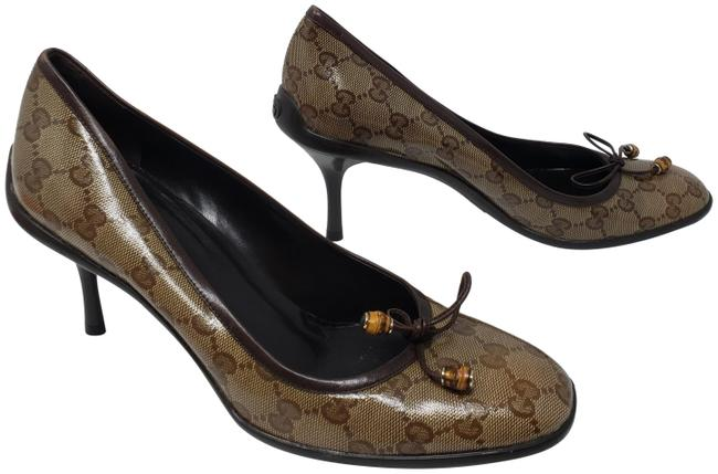 Item - Brown Coated Canvas ssima Round-toe Pumps Size EU 39.5 (Approx. US 9.5) Regular (M, B)