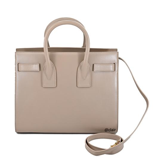 Saint Laurent Leather Satchel in Dark Beige Image 3