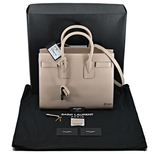 Saint Laurent Leather Satchel in Dark Beige Image 5