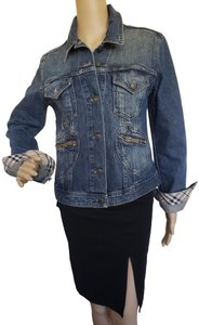 Burberry Plaid Silver Hardware House Check Nova Check Womens Jean Jacket