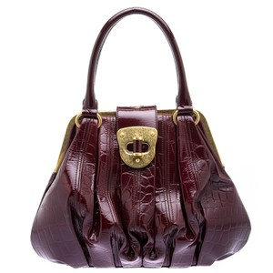 Alexander McQueen Patent Leather Satchel in Burgundy