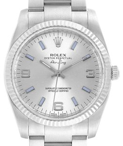 Rolex Rolex Air King Steel White Gold Blue Hour Markers Mens Watch 114234