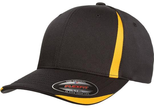 Flexfit 6 Panel Baseball Cap, Solid Colors with Accent Strips - Large/X-Large. Image 1