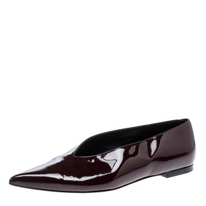 Céline Patent Leather Pointed Toe Burgundy Flats