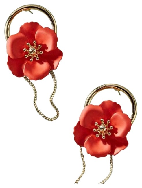 Item - Red and Gold Beaumont Hooped Post Earrings