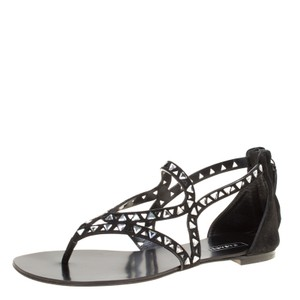 Casadei Suede Crystal Leather Black Flats