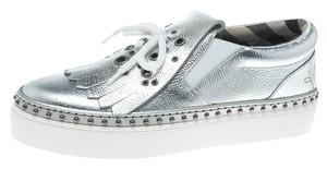 Burberry Leather Rubber Silver Flats
