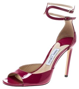 Jimmy Choo Patent Leather Ankle Strap pink Sandals