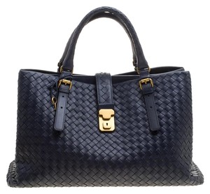 Bottega Veneta Leather Suede Tote in Navy Blue