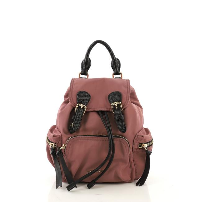 Item - Rucksack with Leather Small Pink Nylon Backpack
