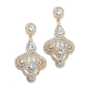 Mariell Gold Art Deco Gatsby Style Earrings
