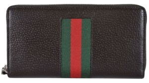 Gucci New Gucci 408831 Brown Leather Red Green Web Stripe Zip Around Wallet