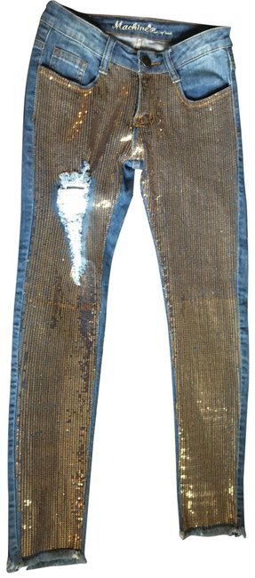 Machine Blue and Gold Distressed Nouvelle Mode Skinny Jeans Size 2 (XS, 26) Machine Blue and Gold Distressed Nouvelle Mode Skinny Jeans Size 2 (XS, 26) Image 1