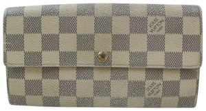 Louis Vuitton Auth Louis Vuitton Long Wallet Portefeuille Sarah Damier Azur 370990