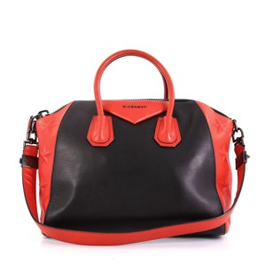 Givenchy Antigona Embossed Satchel in black and red