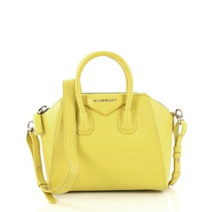 Givenchy Antigona Leather Satchel in neon yellow