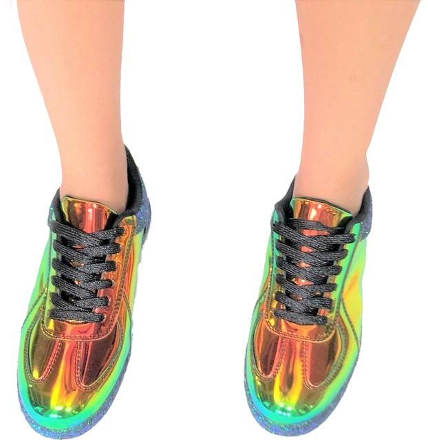 Qupid Rainbow Mermaid Hologram Glitter Kicks New Black Fashion Trendy Sneakers Size US 6 Regular (M, B) Qupid Rainbow Mermaid Hologram Glitter Kicks New Black Fashion Trendy Sneakers Size US 6 Regular (M, B) Image 1
