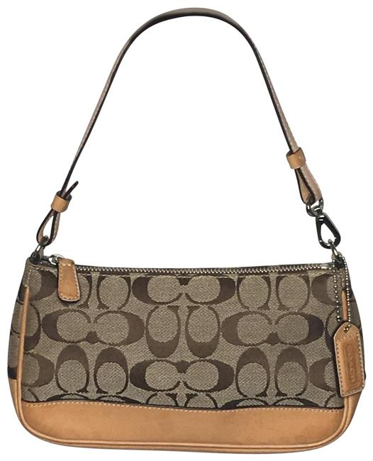 Item - Mini Signature and Leather Tan/Brown Canvas Baguette