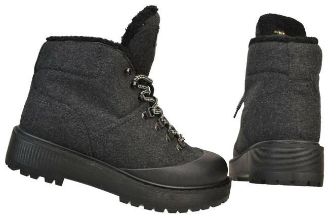 Item - Black Two Tone Wool Rubber Shearling Logo Lace Up Combat Winter Boots/Booties Size EU 40 (Approx. US 10) Regular (M, B)