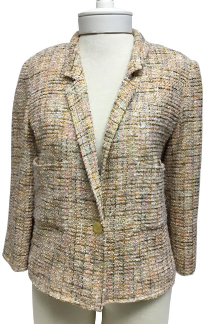 Item - Peach Tweed with One Logo Button Jacket Size 8 (M)