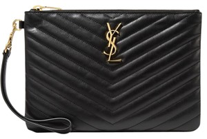 a43d436703 Saint Laurent Ysl Clutch Pouch Monogram Wristlet in black