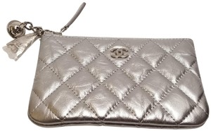 Chanel Chanel Small Metallic Silver Calfskin Quilted Cosmo O Case