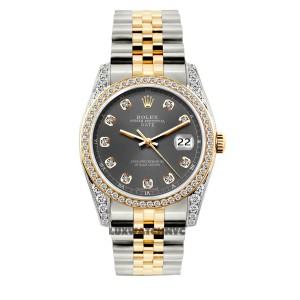 ROLEX 2ct 34mm Date 2-tone with Appraisal