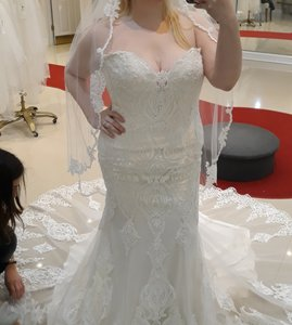 Maggie Sottero Ivory with Soft Blush Tulle Autumn Formal Wedding Dress Size 14 (L)