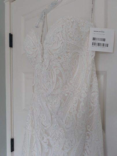 Maggie Sottero Ivory with Soft Blush Tulle Autumn Formal Wedding Dress Size 14 (L) Image 5