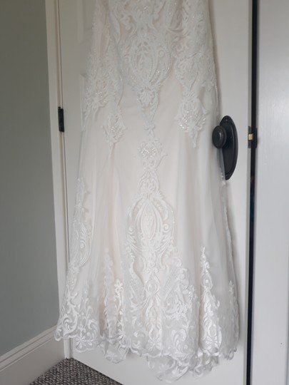 Maggie Sottero Ivory with Soft Blush Tulle Autumn Formal Wedding Dress Size 14 (L) Image 6