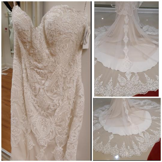 Maggie Sottero Ivory with Soft Blush Tulle Autumn Formal Wedding Dress Size 14 (L) Image 8