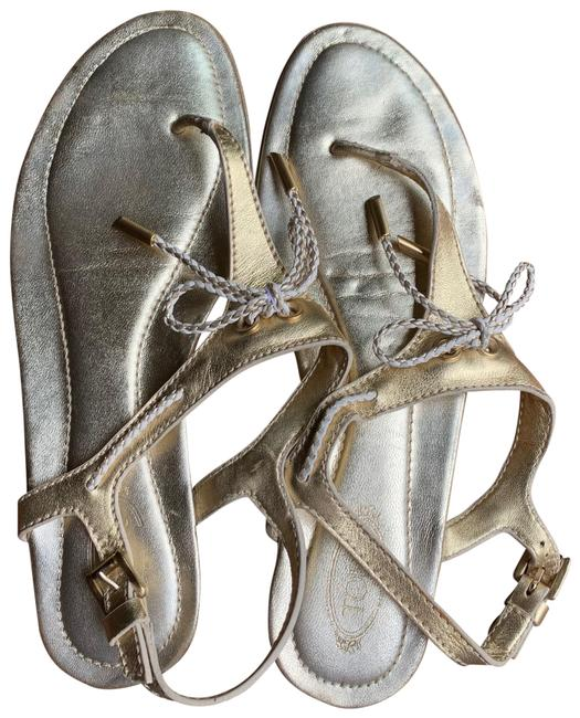 Tod's Metallic Gold Leather Bow Detail Thong Sandals Flats Size EU 37.5 (Approx. US 7.5) Regular (M, B) Tod's Metallic Gold Leather Bow Detail Thong Sandals Flats Size EU 37.5 (Approx. US 7.5) Regular (M, B) Image 1