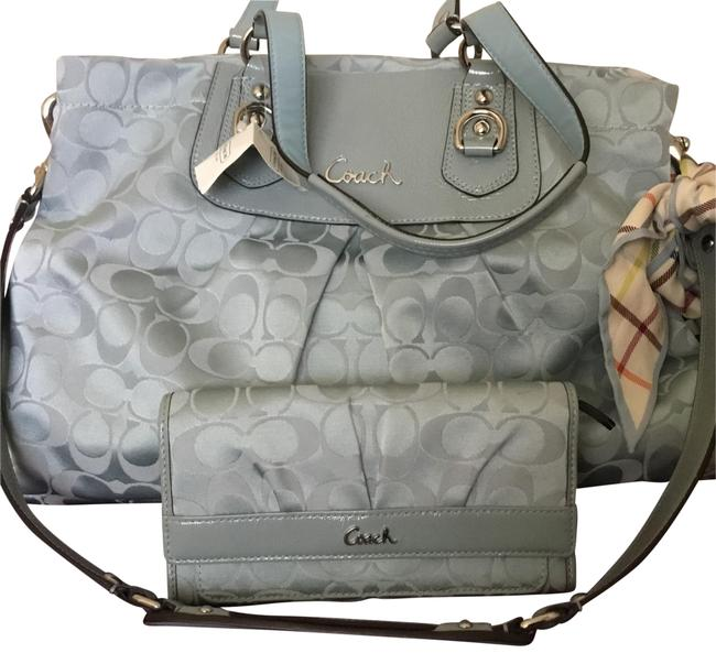 Coach Shoulder Bag Ashley Signature Stn Is The Color Baby Blue Satine Matching Wallet Slate / Silver Leather & Sateen Fabric Satchel Coach Shoulder Bag Ashley Signature Stn Is The Color Baby Blue Satine Matching Wallet Slate / Silver Leather & Sateen Fabric Satchel Image 1