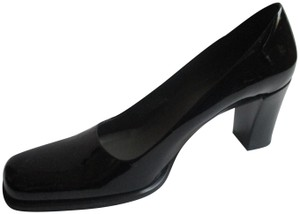 Franco Sarto Patent Stacked Heels Square Toe Padded Insoles Black Pumps