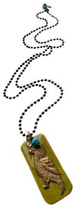 Liz Palacios Liz Palacios Super Long Brass Enamel Crystal 30 Inch Bird Necklace