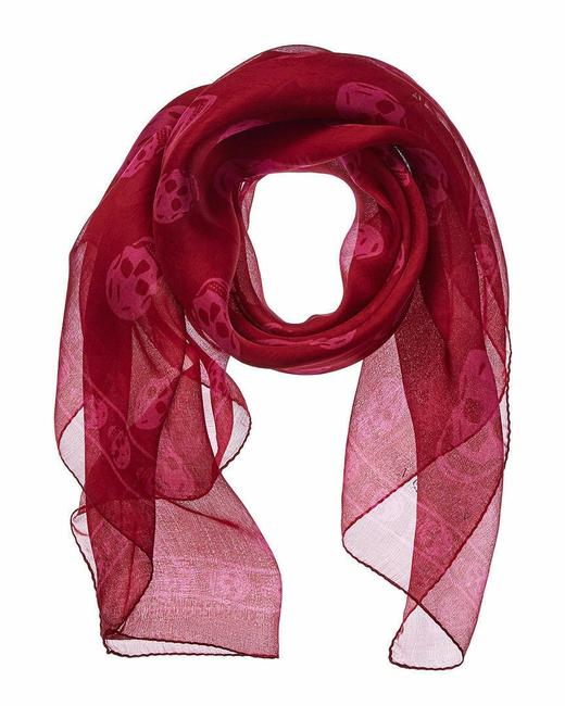 Alexander McQueen Pink/Red Pink/Red Silk Chiffon Skull Print Shawl 345016 6572 Scarf/Wrap Alexander McQueen Pink/Red Pink/Red Silk Chiffon Skull Print Shawl 345016 6572 Scarf/Wrap Image 1