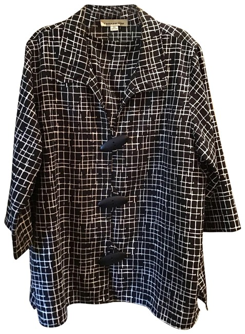 Item - Black & White Linen Look Jacket Shell From Neiman Marcus Blouse Size 22 (Plus 2x)
