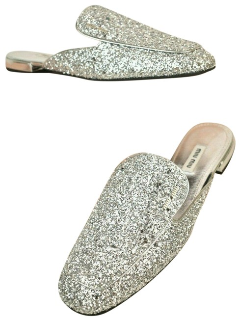 Item - Silver Argento Glitter Leather Lettering Logo Flat Italy Mules/Slides Size EU 39.5 (Approx. US 9.5) Regular (M, B)