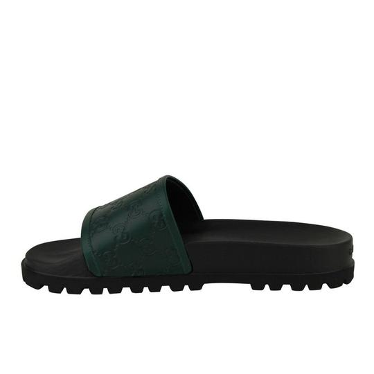 Gucci Green / Black Guccissima Pattern / Leather Sandals 431070 3020 Groomsman Gift Image 1