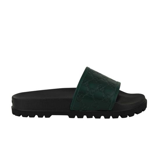 Gucci Green / Black Guccissima Pattern / Leather Sandals 431070 3020 Groomsman Gift Image 4
